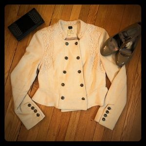Free People Knit Blazer with Lace Detail